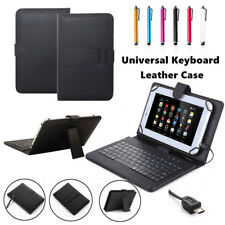 "Micro USB Leather Keyboard Case Cover For Amazon Kindle Fire HD 8"" 7th Gen 2017"
