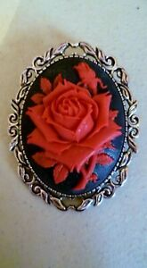 Red Rose Brooch Medieval Pin Pagan Gothic Black Cameo Silver Tone Wedding