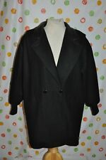 BLACK SHERIDAN SQUARE Wool blend CAR COAT WOMENS 16 USA made Chic EUC