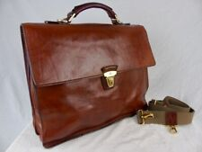 THE BRIDGE Large Classic brown Leather Briefcase 39cm wt shoulder strap