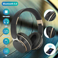 Wireless Bluetooth Wired TF Headphones Over Ear Super Bass Stereo Headset w/Mic