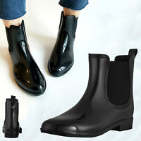 Women's Black Ankle Rain Shoes Anti Slip Waterproof Ladies Chelsea Rain Boots