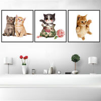 Cute Kitten Cat Canvas Art Painting Poster Kids Room Picture Wall Home Decor