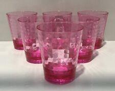 ZAK DESIGNS PINK OPTIX SHORT TUMBLER DRINKING GLASSES X 6 UNITS