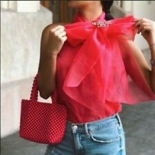ZARA women's pink organza transparent sleeveless tie bow blouse size XS BNWT