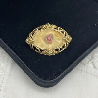 VINTAGE Pink Rose Enamel Floral Brooch Gold Tone Oval Collar Pin Small Pretty