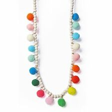 FUN BOLD MULTI COLOR POM POM WOOD BEADS STATEMENT NECKLACE