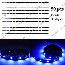 "50pcs 12"" Deep Blue 15-SMD LED Ultra Thin Waterproof Interior Floor Strip Lights"