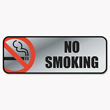 Cosco Brush Metal Office Sign No Smoking 9 x 3 Silver/Red 098207