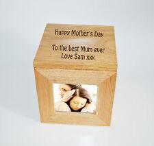 Foto in legno di quercia personalizzata INCISA IN ROVERE Foto Ricordo Scatola Idea Regalo