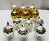 Vintage Mercury Glass Christmas Tree Ornament Lot Ball Bauble Silver Gold Star