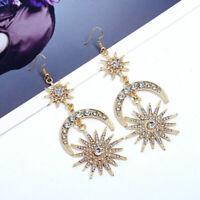 Moon Star Rhinestone Crystal Dangle Long Hook Women Earrings Elegant Gold/Silver