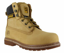Mens Caterpillar Holton SB Safety Steel Toe Cap Lace up Work BOOTS Sizes 7 to 15 UK 10 Honey