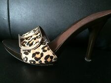 SOFIA-Brown Tan Animal Print Pony Hair Leather Mules/Slides/Heels EUR38 US 7.5-8