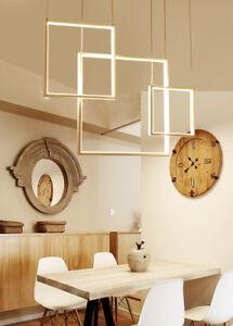 LED Pendant Square Aluminum Chandelier Light Kitchen Dining Room Hanging White