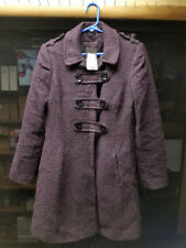 sn198   NEW LOOK winter coat purple/black button up.. new with tags/ size 8?