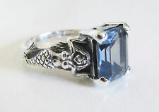 Aquamarine Mermaid Ring Sterling Silver Sz 6.75 Antique Vintage Style