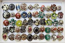 Wholesale Lots Mixed 5pcs Big tibetan retro glazed rhinestone bronze rings FREE