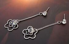 Boucles d'Oreilles Longues Cristal Swarovski Transparent - Bijoux des Lys