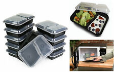 Pack of 10 Food Storage 2 Compartment Containers & Lids Dishwasher Microwaveable