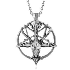 Baphomet Devil Satan Goat Head Pentagram Pentacle Necklace Pendant Gothic