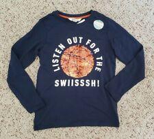 Nwt H&M Boys Long Sleeve Blue Basketball Star Flippy Shirt Sz 8-10 Y