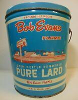 Large Vintage 1950s BOB EVANS FARMS FARM GRAPHIC LARD TIN LARD CAN XENIA OHIO OH