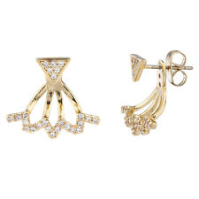 Lux Accessories Gold Tone and Pave Triangle Zig Zag Earring Jacket