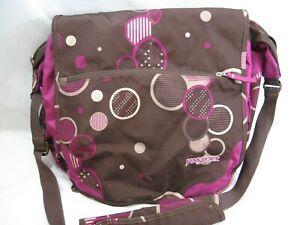 JanSport Laptop Messenger Bag Shoulder Travel Book Bag Polka Dot Pink Brown