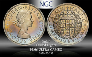 1965 NEW ZEALAND 1/2 CROWN NGC PL 66 ULTRA CAMEO ONLY 1 GRADED HIGHER  TONED