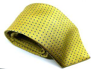 "Turnbull & Asser Yellow Blue Polka Dot Men's Tie 100% Silk 3.5"" Width 60"" Length"
