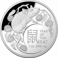 2020 Lunar Year of the Rat $5 1oz Silver Proof Domed Coin