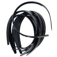 10x Plastic Headband DIY Hair Band Hair Hoop with Teeth for Men Women Black