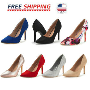 Women's High Heel Pointed Toe Pump Shoes Lady Slip On Party Dress Pump Size 5-11