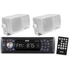 "In-Dash Marine Bluetooth Detachable Face Receiver Remote + 2x 3.5""200 Speakers"