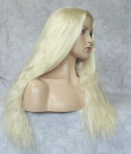 Long Fluffy Bright Blonde Center Part, No Bangs Full Synthetic Party Wig - #50