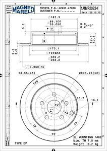 Disc Brake Rotor-GT, FWD Rear Magneti Marelli 1AMVR20224