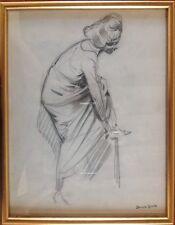Edouard LEVERD 1881-1953.Femme se chaussant.Esquisse au fusain.33x24.SBD.33x24.