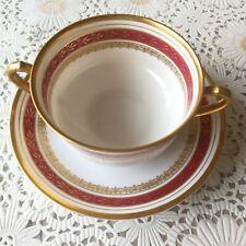 Haviland Limoges bouillon burgundy gold encrusted cup and saucer
