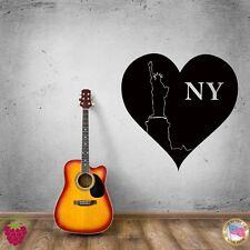 Wall Sticker New York Heart Statue of Liberty Big Apple City  z1343