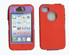 Built in Screen Protector Case / Cover for IPHONE 4, 4S  RED / PURPLE
