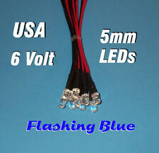 10 FLASHING LEDS 5mm PRE WIRED 6 VOLT BLUE BLINK 6V BLINKING