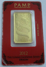2012 Swiss 1 Oz Gold bar 9999 Lunar Year Calendar Series  Dragon