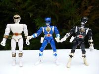 👿 Lot 3 Figurines Bandai Année 1993/1994 Vintage Power Rangers Bleu Noir Blanc