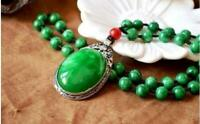 China Old Tibetan silver inlaid with green jade pendant necklace sweater chain