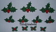 11 HOLLY JOLLY HOLLY & BERRY/BERRIES NOVELTY CRAFT BUTTONS - CHRISTMAS