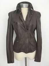 Designer MUUBAA BROWN lightweight LAMBS LEATHER JACKET SHORT COAT UK 12