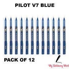 12 X Pilot Hi-Tecpoint V7 0.7mm Rollerball Bolígrafo de Tinta Líquido Azul
