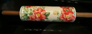 """The Pioneer Woman """"Vintage Floral"""" Flower Ceramic Rolling Pin w/ Wooden Handles"""
