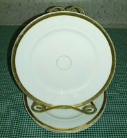 "3 Antique H & Co Limoges CHF720 7.5"" Dessert Pie Plates Gold Band Center Circle"